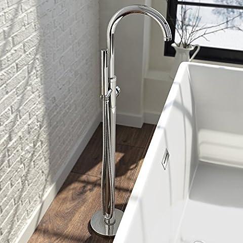 Cromo moderno grifo mezclador de ducha redonda Independiente con caño curvo