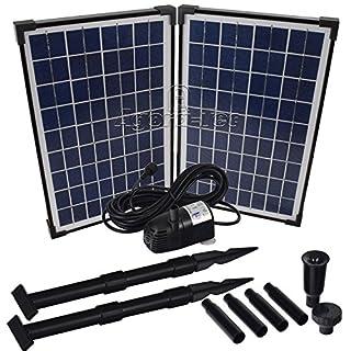 Agora-Tec® AT-20W Solar Teichpumpe 20 Watt Hmax.: 1360l/h Fontainenhöhe: 2,10m für Gartenteich oder Springbrunnen