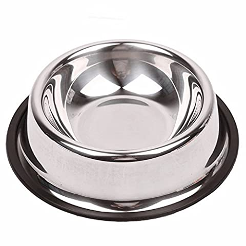 Stainless Steel Dog Bowl With Rubber Base, FLYING_WE Non-Skid Food and Water Bowl for all Pets- Rust Resistant. ( Up to 8.5oz Food )