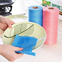 FDGBCF 1 Roll Disposable Striped Cleaning Cloth For Kitchen Non-woven Fabrics Washing Towels Eco Friendly Rags Wiping Scouring Pad,50pcs