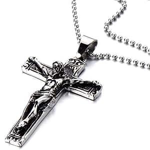 pendentif croix christ j sus crucifix collier pour homme et femmes acier gothique motard. Black Bedroom Furniture Sets. Home Design Ideas