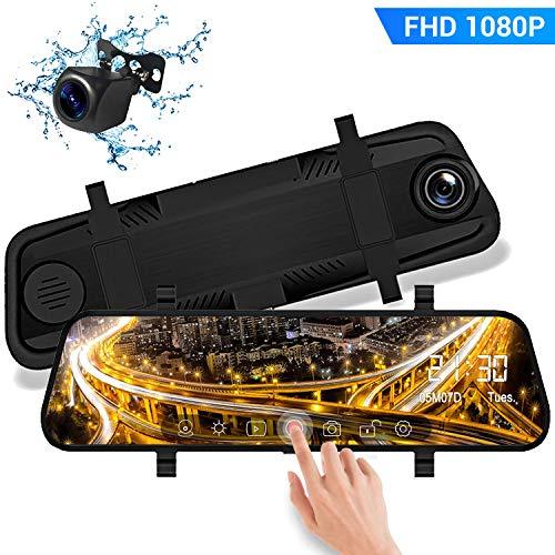 """DashCam Spiegel Autokamera Dual Lens 10\"""" Full HD 1080P Touchscreen mit 170° Weitwinkel mit Nachtsicht G-Sensor Loop-Aufnahme Parküberwachung Bewegungserkennung"""