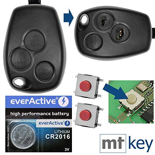 Auto Schlüssel Funk Fernbedienung 1x Gehäuse 3 Tasten + 3X Mikrotaster + 1x CR2016 Batterie für Renault/Dacia/Opel