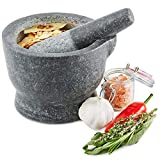 Andrew James Pestle and Mortar Granite | 15cm (6 Inch) Diameter Bowl with Easy Pour Lip | Traditional Indian Thai Style Stone Set Herb and Spice Grinder