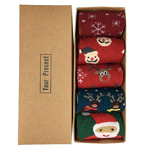 (5 Paar) LIKERAINY Baumwolle Frauen Dame Weihnachten Socken, Erwachsene Socken Weihnachtsgeschenke, Weihnachtsstrumpf, Christmas Weich Elastisch Socken, (Santa Claus / Elch), Weihnachtsgeschenk (Thermal-tube-socken)