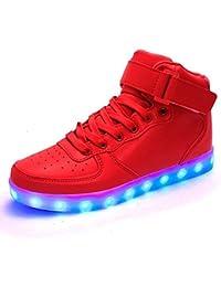 [Presente:peque?a toalla]Rojo EU 40, Zapatos Unisex colores Ni?as y LED Ni?os JUNGLEST?