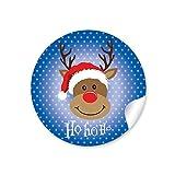 24 STICKER: 24 Weihnachtsaufkleber in Blau mit lustigem Rudolph/Rentier • Für Weihnachtsgeschenke, Adventskalender, Weihnachtsplätzchen u.v.m. • 4 cm, rund, matt