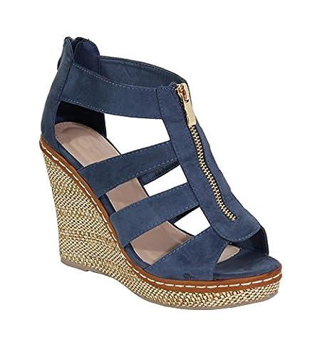 By Shoes - Sandale Compensée Style Suédine - Femme - Taille 40- Blue