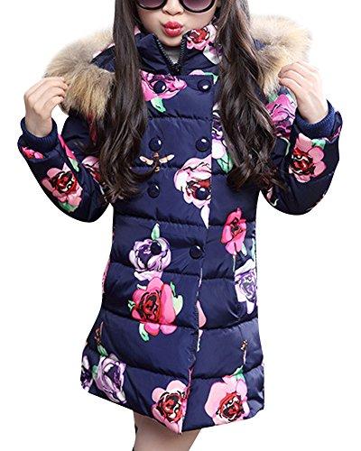 Giacca cappotto con cappuccio pelliccia faux caldi giubbotto parka per ragazza blu 120cm