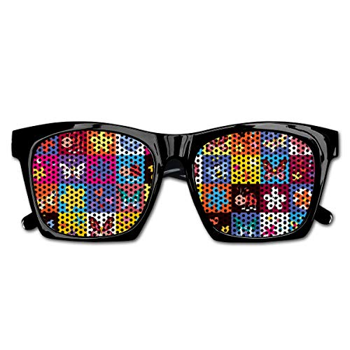EELKKO Mesh Sunglasses Sports Polarized, Butterflies Beetles Flowers Bees Bugs Hearth Spring Lovely Hippie Season Image,Fun Props Party Favors Gift Unisex