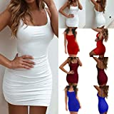 Lailailaily Women's Casual Sleeveless Dress Sexy Sling Open Back Pleated Tight Mini Dress