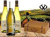 Italien vs. Frankreich |Das 3er Weisswein-geschenk für besondere Anlässe|Baron Montgaillard Blanc & Pomino Bianco in 3er Präsent-verpackung Weidenkorb |Die Alternative zu Sauvignon, Chardonnay & Riesling | zum Geburtstag, Sommerparty und für Weisswein-Fans