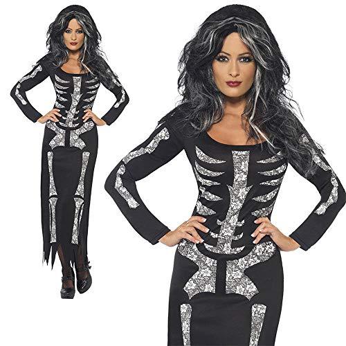 Hukangyu1231 Erwachsene Frauen Skeleton Kostüm Langärmeliges Kleid Legends of Evil Halloween Schädel Cosplay Outfit Damen Halloween Kostüm (Größe : S)
