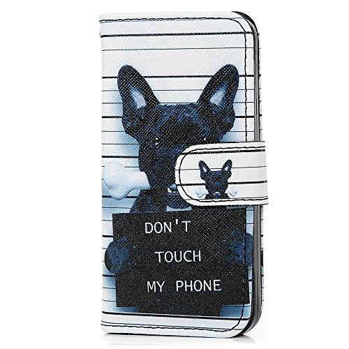 iPhone 5/5S Hülle Kasos iPhone 5/5S Case PU Ledertasche Handyhülle Gemalt Blumenfeld Muster Book Type Smart Cover Schutzhülle Flipcase Knochen Hundes