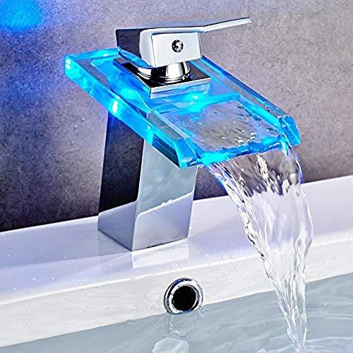 Glas Wasserfall Wasserhahn Temperaturregelung Drei-Farben-LED-Licht emittierende quadratische Becken Plattform Becken heißen und kalten Wasserhahn - Quadratische Glas-plattform