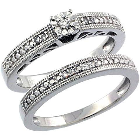 Revoni-Collana in argento Sterling stile Vintage, 2-Pc. 9-Anello di fidanzamento, pietra diamante da 0,10 kt con diamanti taglio brillante, misure disponibili da J a