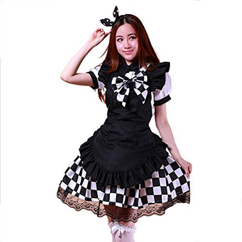 tzm2016 White clothes Plaid skirt black apron Plaid bowtie Women's Anime Cosplay Costume Outfit M