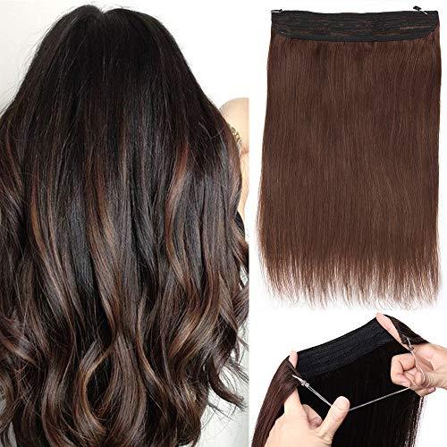 Extension con filo invisibile capelli veri 100% remy human hair double weft fascia unica 2 marrone scuro 40cm 90g