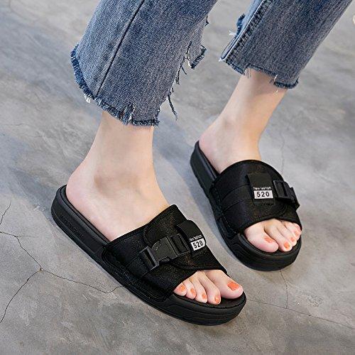 RUGAI-UE Pantofole moda estate Appartamento Comfort pantofole di moda gli studenti per il tempo libero le scarpe da spiaggia Black