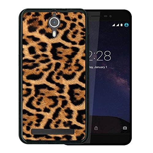 WoowCase Coolpad Porto S Hülle, Handyhülle Silikon für [ Coolpad Porto S ] Tier Leoparddruck Handytasche Handy Cover Case Schutzhülle Flexible TPU - Schwarz