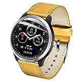 SOHOH Zhinengshouhuan Gli Uomini e Le Donne Sport pedometro Bluetooth Braccialetto Intelligente Meteo frequenza cardiaca monitoraggio del Sonno Informazioni Push Watch (Colore : Belt Yellow)