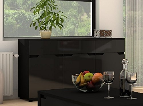 Alaska Black Gloss 3 Door & 3 Drawer Sideboard Buffet Cabinet