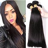 Tissage Bresilien en Lot Lisse 3 Bundles Meches Bresiliennes Extension Cheveux Naturel Noir Naturel - Grade 7A Brazilian 100% Human Hair Straight - 22'22'22'