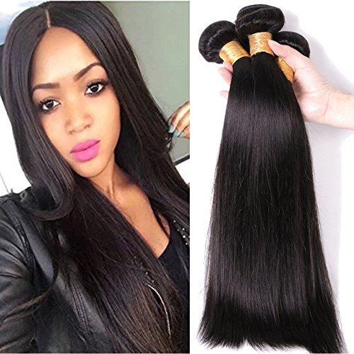 Tissage Bresilien Lisse Meches Bresiliennes Extension Cheveux Naturel Noir Naturel - Grade 7A Brazilian 100% Human Hair Straight - 14\\