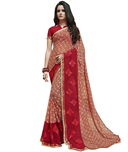 Indian Ethnic Faux Georgette Red Printed Saree (Skirt Abstract Print)