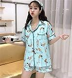 Plus Size 2018 Women Casual Cartoon Printed Short Sleeve Pajamas 3 Pieces Sets Hot Shorts Tracksuit Sleepwear Loose Shirt Tops Women Blue L