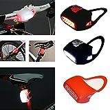 Fahrradlicht SCHWARZ Silikon 7 LED (WEISS oder ROT) Licht / Hochwertig / Wasserdicht / Fahrradlampe / Kinderwagenlicht / Rücksack Lampe/ Rücklicht von Top Idee (LED-rot in rot-Silikon)