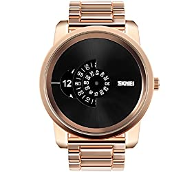 Fashion Large dial design watch dial pointer watch men's wristwatch 30m waterproof watch(Rose Gold)