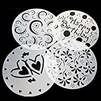 FairytaleMM 4PCS/Set Non-Toxic PVC Cake Stencils Mold Kitchen Baking Pastry Tools Wedding Birthday Cake Printing Mold-Transparent