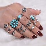Yean - Juego de anillos de plata para mujer, diseño de flor de luna, color turquesa