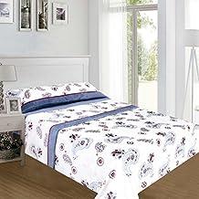 ForenTex - Juegos de sábanas, (LS-4015), Afrodisias Azul, cama 90 cm, con tacto seda de sedalina, nacarina, de 250 gr/m2, ultra suaves, exclusivas.