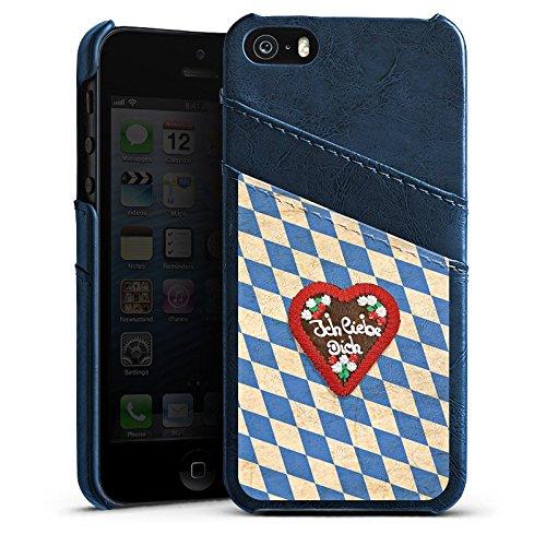 Apple iPhone 5 Housse étui coque protection Amour Motif Motif Étui en cuir bleu marine