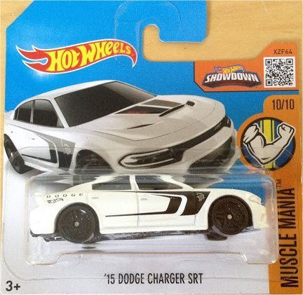 2016 Hot Wheels Muscle Mania '15 Dodge Charger SRT White 130/250 (Short Card)