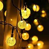 LEDGLE Globo Solar Luces de Burbuja de Hadas LED luz de Bola de Cristal, 20 pies 30 LED, blanco cálido Luces decorativas para Árbol de Navidad, Jardín, Patio, Bodas, Terraza, Fiestas
