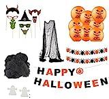 Halloween Deko Grusel Dekoration Set mit über 30 Teilen Deckenhänger Grusel Girlande, Wimpelkette, Luftballon, Spinnennetz mit Spinnen, Geister zur Dekoration von Haus, Tisch & Garten