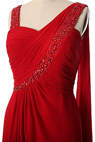 MACloth Women Straps Sweetheart Long Prom Dress Chiffon Formal Evening Gown Weiß