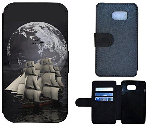Flip Cover Schutz Hülle Handy Tasche Etui Case für (Apple iPhone 4 / 4s, 1386 Drache Dragon grün auf Moped Orange) 1381 Schiff Segelschiff Meer Abenteuer Mond