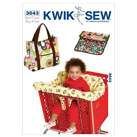 Kwik Sew Patterns K3643 Shopping Cart Seat Cover and Diaper Bag with Changing Pad, Pack of 1, White