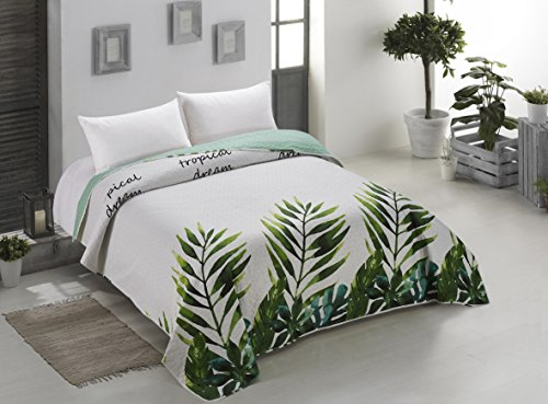 AmeliaHome 00165 Tagesdecke 220x240 cm weiß grün grau Bettüberwurf zweiseitig Steppung pflegeleicht Monstera Blätter Pflanzenmuster stahl hellgrün seladongrün anthrazit Makia