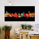 Bamberg Stadt von Kunstbruder Skyline - Wandbild - Neon (div. Größen) - Kunst Druck auf Leinwand 30x60cm