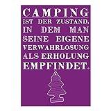 Postkarte »Camping ist der Zustand, in dem man seine eigene Verwahrlosung als Erholung empfindet« aus der Serie »Wohnmobil-Glück« | XXL-Postkarte (12 x 17,5 cm) | als Deko im Camper oder Geschenk