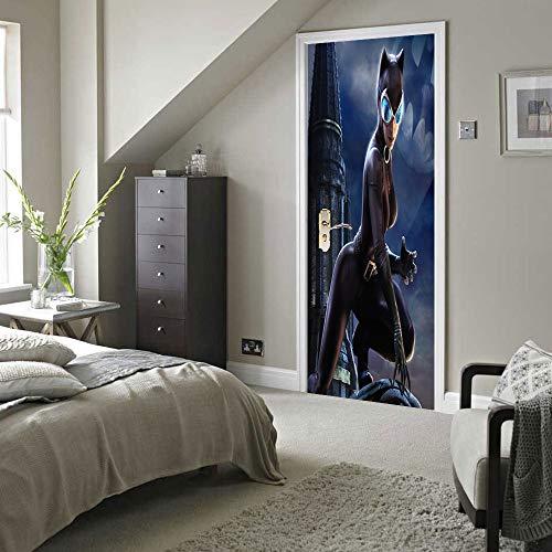 Preisvergleich Produktbild 3D Tür Aufkleber Catwoman Pvc Wasserdichte Abnehmbare Diy Selbstklebende Wandtattoos Wohnzimmer Home Schlafzimmer Wandaufkleber Dekor 77X200 Cm