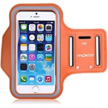MoKo Sports Armband for Apple iPhone 6s / iPhone 6 4.7 & Samsung Galaxy S6 / S6 Edge 5.1 inch, Card Slot, Sweat-proof, ORANGE (Size S, Compatible with Cellphones up to 5.2 Inch, Not Fit iPhone 6 Plus)