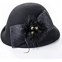 db75d4b956890 Limin Cloche Hat Sombrero Elegante para Mujer Chica Lady Vintage Negro  Invierno Lana Derby Church Party