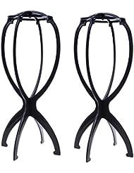2pcs en plastique pliable Perruque cheveux Chapeau support support Outil d'affichage Perruque Linge