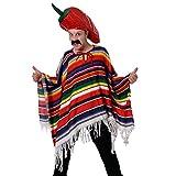 Déguisement Méxicain avec un poncho à rayures + un chapeau en forme de piment + une moustache pour adulte. Ideal pour les enterrements de vie de garçon.